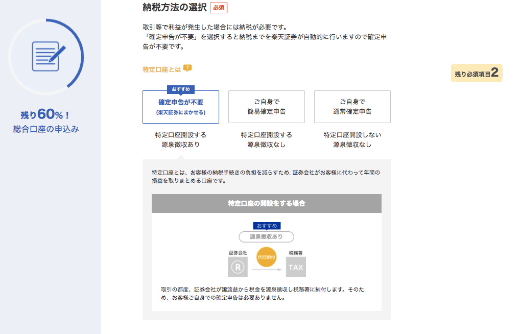 楽天証券・顧客情報入力